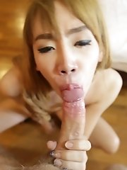 20 Year Old Thai Ladyboy With Natural Tits Sucks And Fucks Tourist Cock