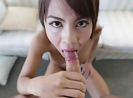 Busty Thai Shemale Sucks Off White Tourist's Cock And Gets A Full Facial
